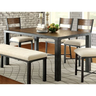 Furniture of America Kesso Industrial Plank Style Metal Dining Table