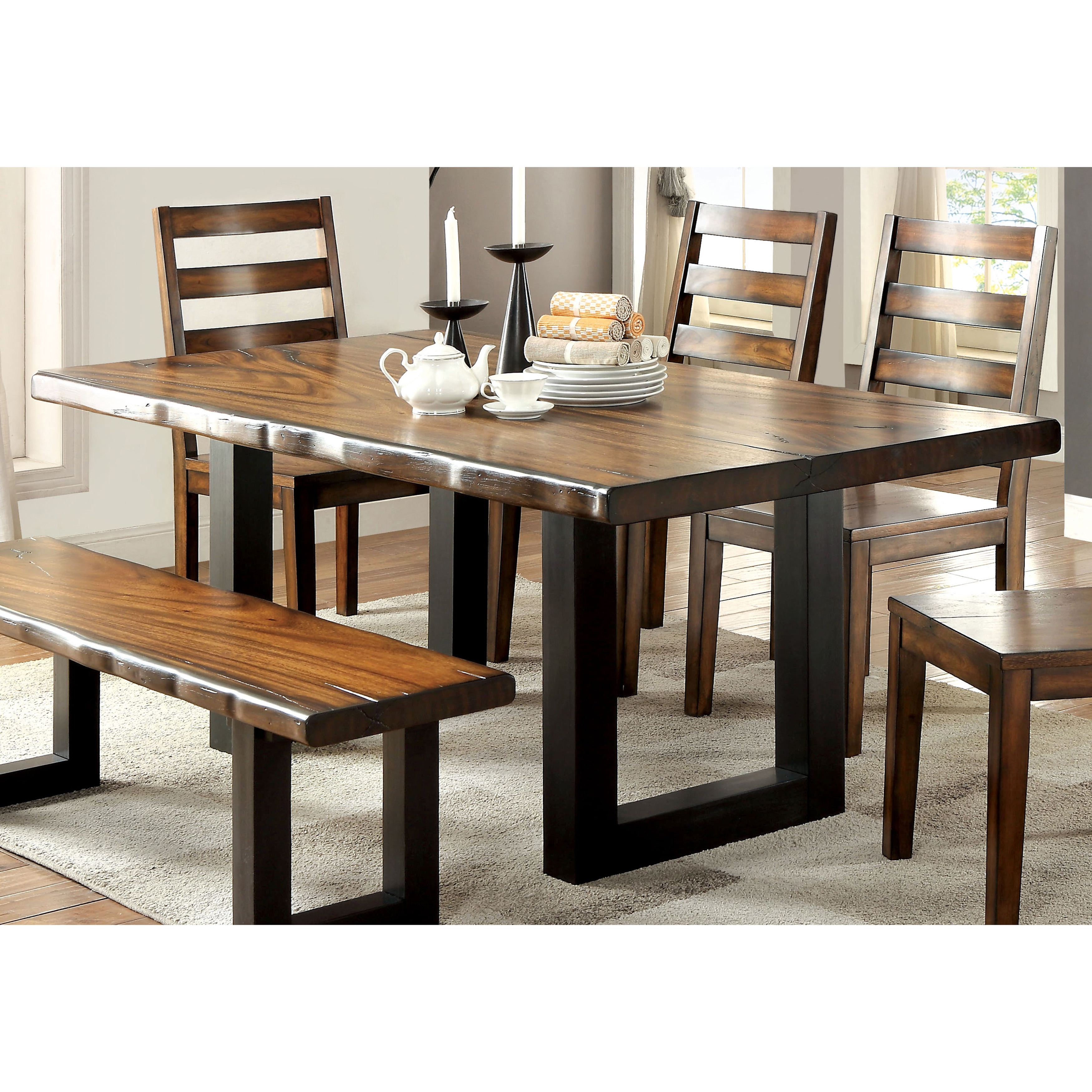 Furniture of America Divo Rustic Oak 72-inch Solid Wood Dining Table