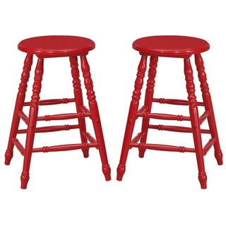 Mintra 24 Inch Turned Leg Counter Height Stool (Set of 2)