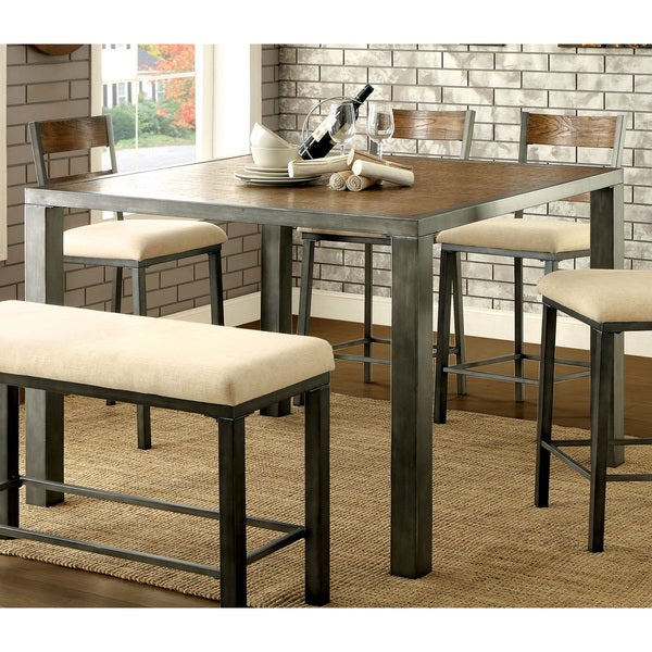 Counter Height Industrial Table : ... of America Kesso Industrial Plank Style Metal Counter Height Table