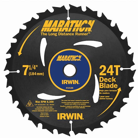 "Irwin Marathon 14130 7-1/4"" 24 Tooth Portable Corded Circular Saw Blades"
