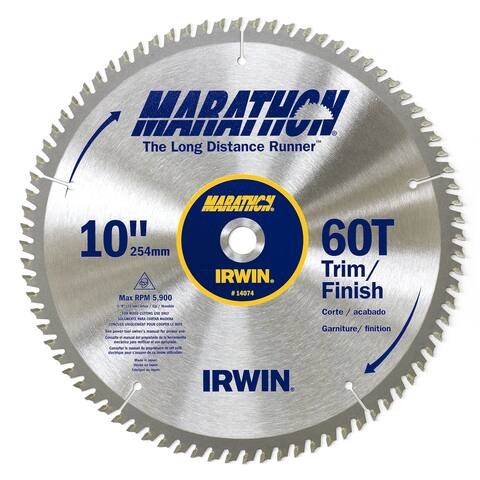 "Irwin Marathon 14074 10"" 60 TPI Marathon Miter & Table Saw Blades"