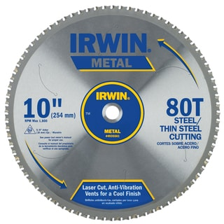 "Irwin 4935561 10"" 80 Tpi Metal Cutting Circular Saw Blade"