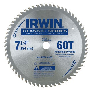 Irwin 15530ZR Finishing & Plywood Circular Saw Blade