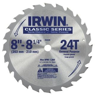 "Irwin 15150 8-1/4"" Carbide 24 Tooth Universal Arbor Circular Saw Blade"