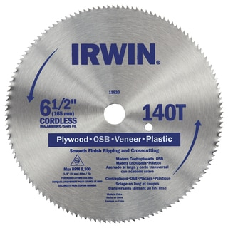 "Irwin 11820ZR 6-1/2"" 140 Tooth Cutting Saw Blade"