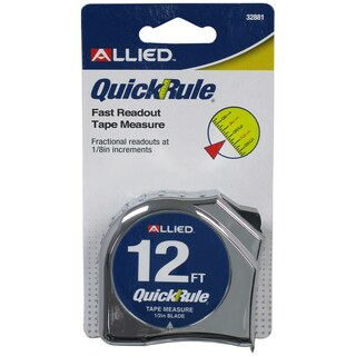 "Allied International 32881 12' X 1/2"" QwikRule Tape Measure"