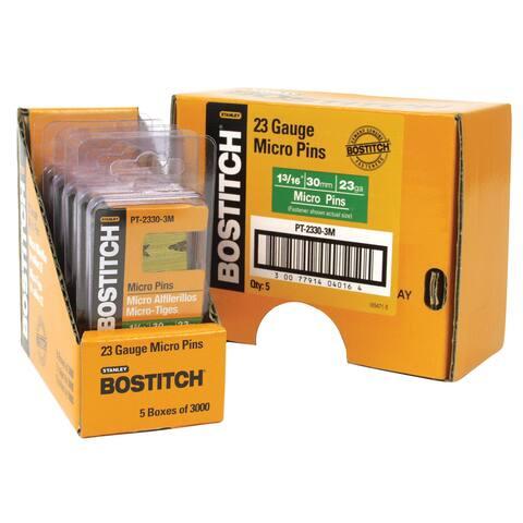"Bostitch Stanley PT-2330-3M 3,000-count 1-3/16"" 23 Gauge Galvanized Micro Pin"