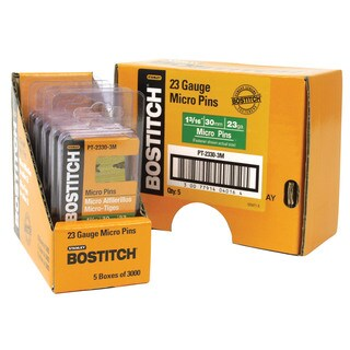 "Bostitch Stanley PT-2330-3M 3,000-count 1-3/16"" 23 Gauge Galvanized Micro Pin"