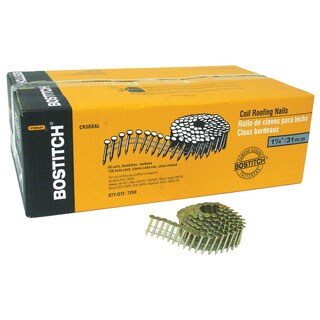 """Bostitch Stanley CR3DGAL 7,200-count 1-1/4"""" Smooth Shank 15° Coil Roofing Nail"""