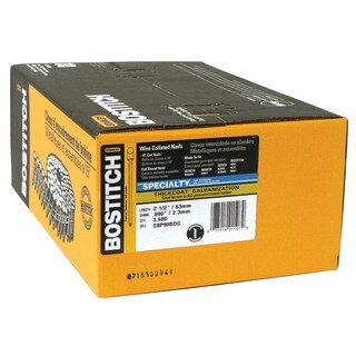 """Bostitch Stanley C8P90BDG 3,600-count 2-1/2"""" Smooth Shank 15° Coil Siding Nail"""