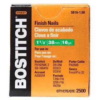 "Bostitch Stanley SB16-1.50 2,500-count 1-1/2"" Coated 16 Gauge Straight Finish Nails"