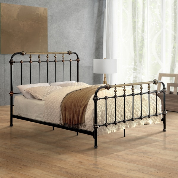 Furniture Of America Gally Two Tone Powder Coated Metal Bed Black