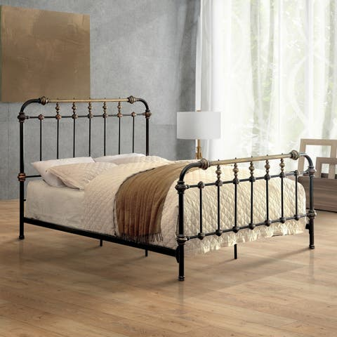 Furniture of America Gally Two-tone Powder-coated Metal Spindle Bed