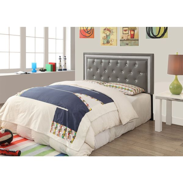 Shop Breen Grey Faux Crystal Tufted Headboard   Free Shipping Today    Overstock   11631249