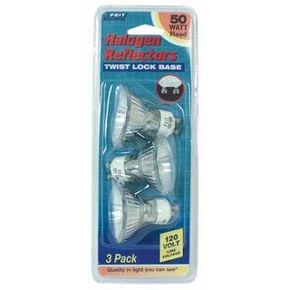 Feit Electric BPQ50MR16IFGU10 50 Watt MR16 Reflector Frost Halogen Bulb 3-count