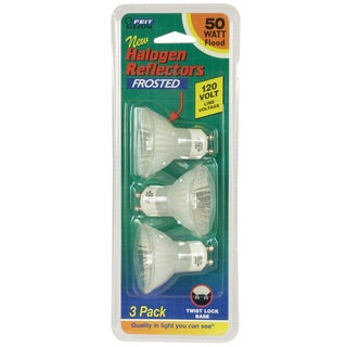 Feit Electric BPQ50MR16/GU10/ 50 Watt MR16 Frosted Halogen Reflector Flood Bulb 3-count