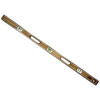 "Mayes 10136 48"" Brass Bound Laminated Wood Level"