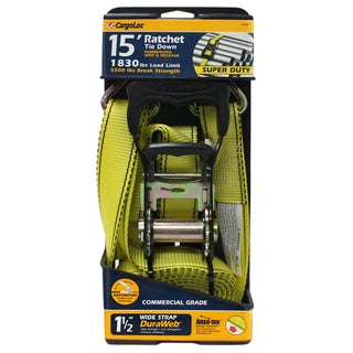 Allied International 84006 1-1/2-inch X 15' Yellow Ratchet Tie Down W/Rubber Grip