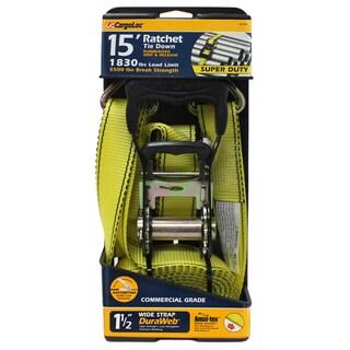 Allied International 84006 1-1/2-inch X 15' Yellow Ratchet Tie Down W/Rubber Grip