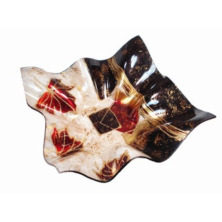 Large Square Deep Wave Plate with Leaf Design