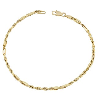 Fremada 10k Yellow Gold 2-mm Baguette Rope Bracelet (7.5 inches)