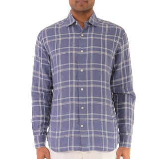 Men's Long Sleeve Plaid Linen Shirt