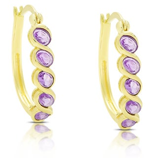 Dolce Giavonna Gold Over Silver Gemstone Hoop Earrings