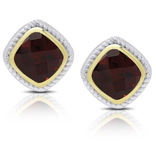 Dolce Giavonna Sterling Silver Gemstone Square Stud Earrings