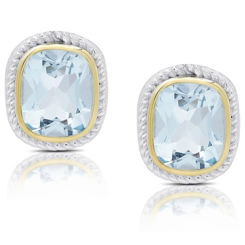 Dolce Giavonna Sterling Silver Blue Topaz Rectangle Stud Earrings