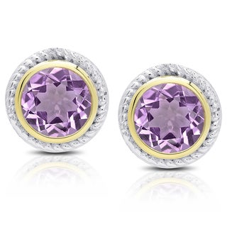 Dolce Giavonna Sterling Silver Amethyst Circle Stud Earrings