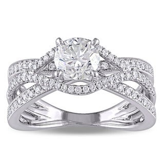 Miadora Signature Collection 18k White Gold 1 2/5ct TDW Certified Diamond Crossover Engagement Ring (H-I, SI1-SI2) (IGI)
