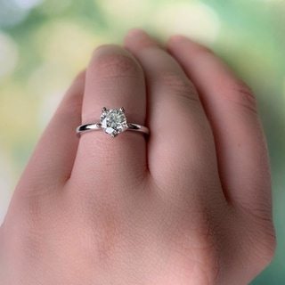Link to Miadora 14k White Gold 1ct TDW Diamond 5-Prong Solitaire Engagement Ring Similar Items in Wedding Rings