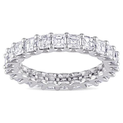 Miadora Signature Collection 18k White Gold 4ct TDW Certified Asscher-cut Diamond Eternity Ring