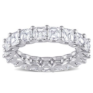 Miadora Signature Collection 18k White Gold 5 1/10ct TDW Certified Asscher-cut Diamond Eternity Ring