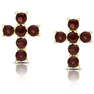 Dolce Giavonna Gold Over Silver Garnet Cross Stud Earrings