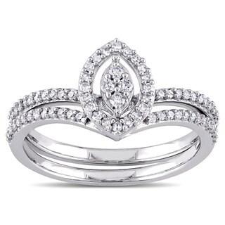 Miadora 10k White Gold 1/3ct TDW Diamond Marquise-shape Cluster Bridal Ring Set