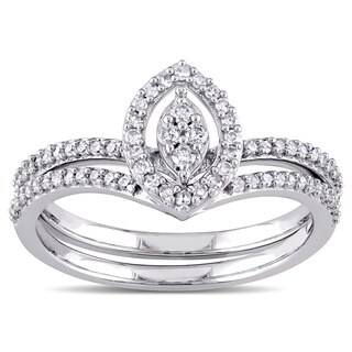 Miadora 10k White Gold 1/3ct TDW Diamond Marquise-shape Cluster Bridal Ring Set