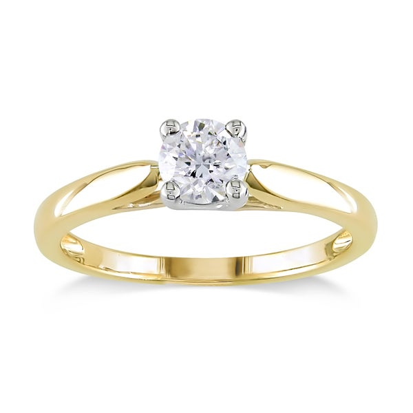 Miadora Signature Collection 14k 2-tone Yellow and White Gold 1/2ct TDW Diamond Solitaire Engagement Ring (G-H, I1-I2)