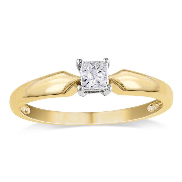 Miadora 14k 2-tone Yellow and White Gold 1/4ct TDW Princess-cut Diamond Solitaire Engagement Ring (G