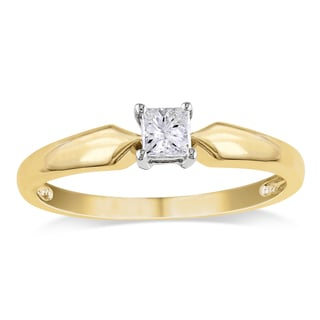 Miadora 14k 2-tone Yellow and White Gold 1/4ct TDW Princess-cut Diamond Solitaire Engagement Ring (G-H, I1-I2)