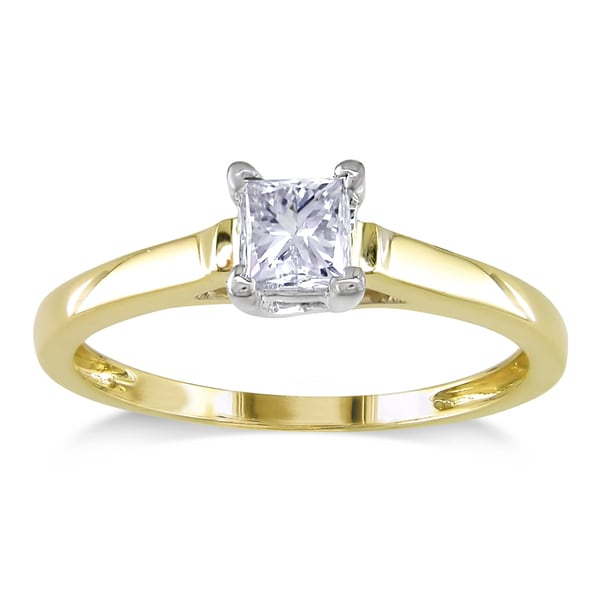 Miadora Signature Collection 14k 2-tone Yellow and White Gold 1/2ct TDW Princess-cut Diamond Engagem
