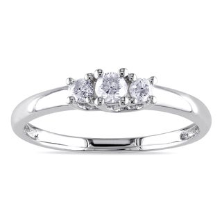 Miadora 10k White Gold 1/4ct TDW Diamond 3-stone Promise Ring