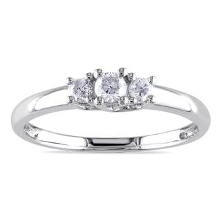 Miadora 10k White Gold 1/4ct TDW Diamond 3-stone Promise Ring (G-H, I2-I3)
