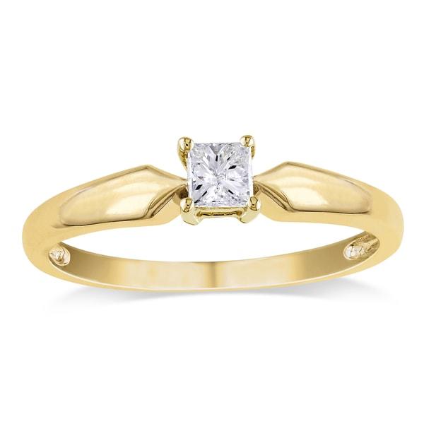 Miadora 10k Yellow Gold 1/4ct TDW Princess-cut Diamond Solitaire Engagement Ring (J-K, I2-I3) - White