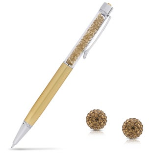 Dolce Giavonna Sterling Silver Round Crystal Stud Earrings With Bonus Crystal Filled Pen
