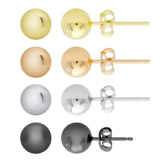 Dolce Giavonna Gold Over Silver and Sterling Silver 3 mm Ball Stud Earrings Set