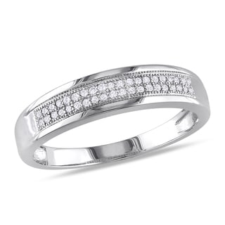 Miadora 10k White Gold 1/8ct TDW Double Row Diamond Wedding Band (G-H, I2-I3)