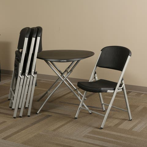 Black Round Personal Table and Chair Combo