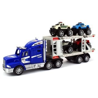 Velocity Toys Off Road Police Transporter Trailer 1:32 Friction Toy Truck (Colors May Vary)